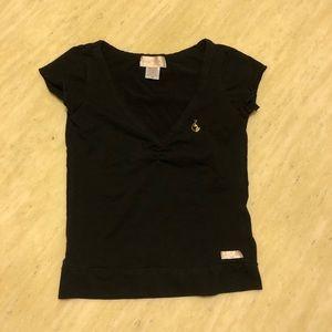 New Baby Phat V-Neck Logo Black Tee XS/S